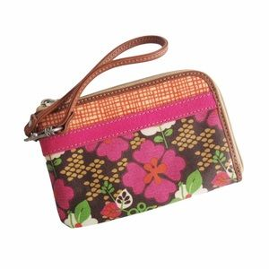 Fossil Floral Wristlet Pink Brown Coated Canvas
